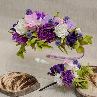 Обруч венок с цветами из фоамирана +брошь бутоньерка.