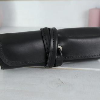 """Кожаный пенал """"скрутка на 6 карманов"""" кожа итальянский краст, цвет черный"""
