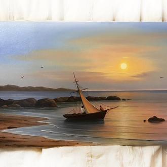 Красива сюжетна картина маслом на полотні 50х80см Рибалки,  ранок, сонце, люди човен ручна робота