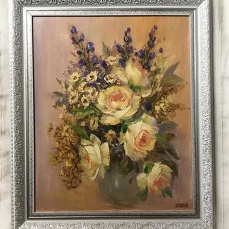 Чарівна картина 40х50см Чайна троянда маслом на полотні, мастихін ручна робота художника