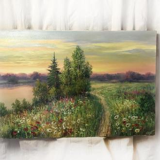 Интерьерная картина маслом на холсте 60х90см пейзаж луг дорога луговые цветы маки ромашки речка
