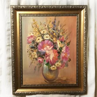 Картина маслом 40х50см Красиві Півонії польові квіти ромашки на полотні мастихін ручна робота художн