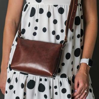 МШкіряна сумка, сумочка Літо, шкіра італійський краст, колір Вишня