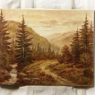 Картина маслом 40х50см пейзаж Карпати гори річка дерева камені в охристих кольорах  ручна робота