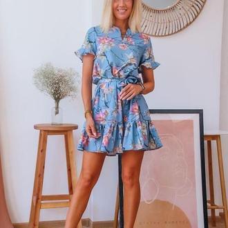 Платье женское летнее голубое, цветочный принт, S,M,L