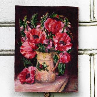 Картина маслом на оргаліті 17х24см Маки в глечику з квітами Натюрморт квіти ручна робота художника