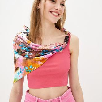 """100% Шелковый платок """"Цветение сакуры в розовом саду """" от бренда my scarf. Премиум коллекция!"""
