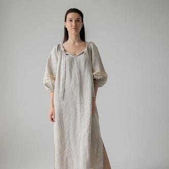 Платье свободного фасона в этно стиле с кружевом. Этно коллекция