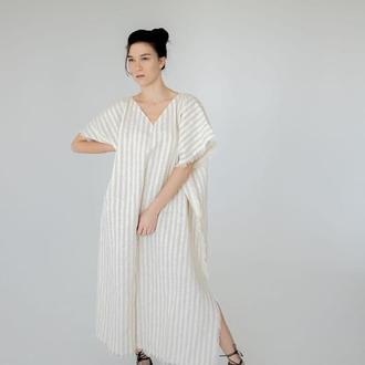 Свободное платье в полоску с декоративными краями, платье-туника пляжное из льна, льняное платье