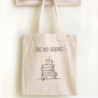 Эко Сумка Шоппер с принтом Книги (Хлопок 100%). Городская сумка для покупок и прогулок