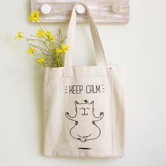 Эко сумка (Органика) из мягкого Хлопка с принтом Йога-Кот. Городская сумка Авоська Шоппер с карманом