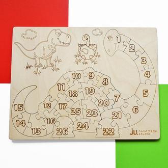 """Деревянные цифры """"Динозавр"""". Деревянная игрушка для изучения цифр"""