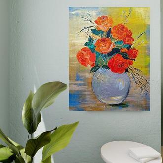 Картина «Троянди у вазі», акріл, 40х50