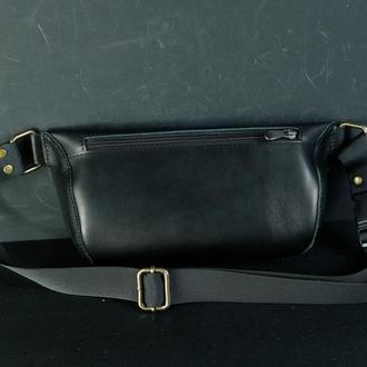 """Сумка """"модель №70 мини"""" с фастексом, кожа итальянский краст цвет черный"""