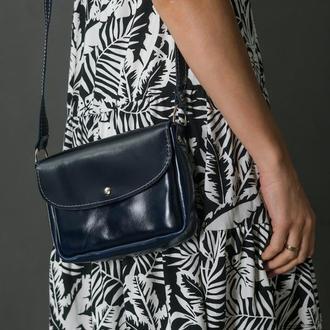 Шкіряна сумочка МІЯ, шкіра пуллап, колір синій