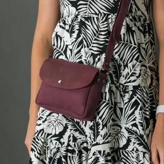 Шкіряна жіноча сумочка Мія, вінтажна шкіра, колір бордо, тиснення №4