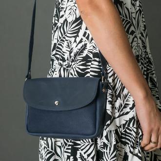 Кожаная женская сумочка Мия, винтажная кожа, цвет синий, оттиск №4
