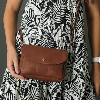 Шкіряна жіноча сумочка Мія, Шшіра італійський краст, колір коричневий, тиснення №2