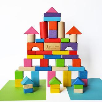"""Набор деревянных кубиков """"Город"""". 48шт. Цветные строительные блоки разной формы"""