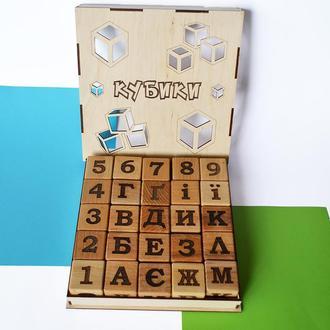"""Деревянные кубики """"Цифры + буквы"""" 25шт. УКРАИНСКИЙ."""