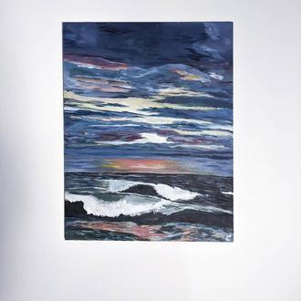 Картина закат над морем, Морской пейзаж