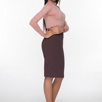 Трикотажная юбка кофейного цвета