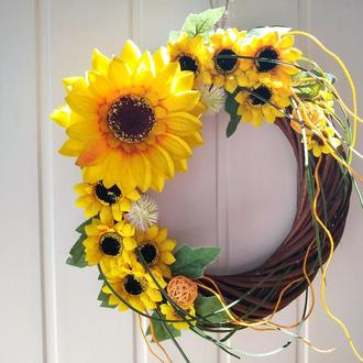 Венок на двери с цветами Подсолнухи, летний венок на двери ручной работи, декор на двери