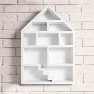 """Деревянная настенная полка """"Dollhouse White"""" для детской комнаты в виде кукольного домика"""