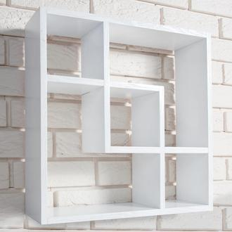 Книжная настенная полка Wood Square DS85 White из дерева