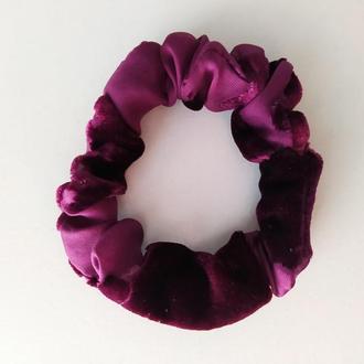 Скранч резинка для волос из натурального шелка браслет резинка из ткани ручная работа