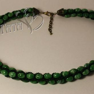 Турецкий жгут Лариат зеленый Колье из бисера и бусин Украшение Подарок девушке