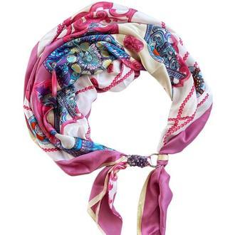 """Шелковый шарф """"Розовый фламинго"""", атласный платок, шарф-колье, шарф-чокер, шейный платок"""