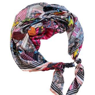 """Шелковый шарф """"Дольче Вита """", атласный платок, шарф-колье, шарф-чокер, шейный платок"""