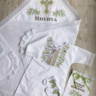 Крестильный набор для мальчика - хлопковая именная крыжма, сорочка вышиванка, штанишки и носочки