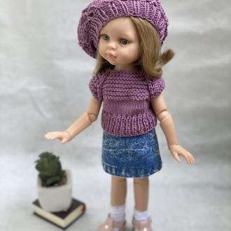 Набор одежды для куклы Паола Рейна 32 см, Вязаный топ и берет Paola Reina