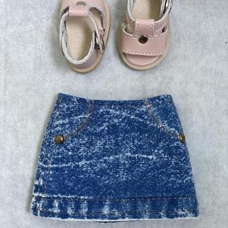 Джинсовая юбка для куклы Паола Рейна 32 см, Одежда Paola Reina