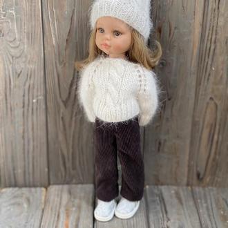 Вязаная шапка и свитер для Паола Рейна, Комплект одежды для кукол Paola Reina 32 см
