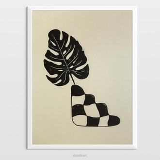 Інтер'єрна картина(гравюра) «Монстера в вазі» в сучасному стилі