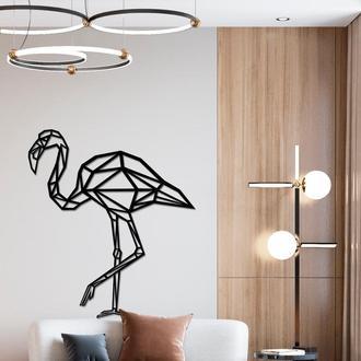 Панно из дерева Born for Art Полигональный фламинго Черное (PAN009)