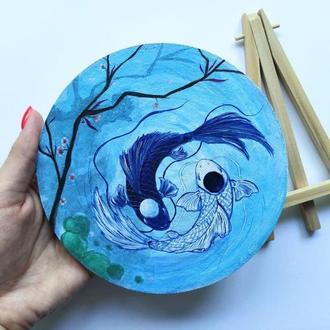 Круглая картина инь ян рыбки кои миниатюра, картина рыбы, декор для дома, идея для подарка