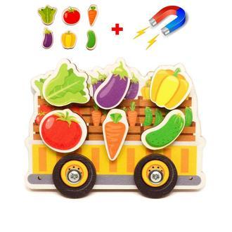 Цветная Заготовка для Бизиборда Сортер на Магнитах Прицеп с Овощами, Овощи, Овочі на бізіборд