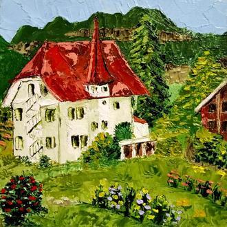 Картина Германия Миниатюрная Живопись масляная Горный пейзаж
