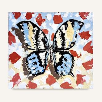 Картина абстракция Бабочка Монарх масляная живопись