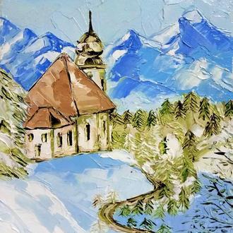 Авторская живопись Зимний пейзаж Снежные горы Миниатюрная картина маслом