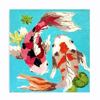 Миниатюрная живопись Рыбки Кои маленькая картинка маслом