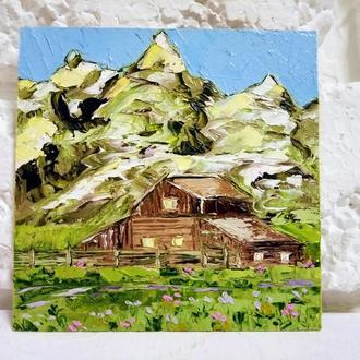 Авторская картина Норвегия Горный пейзаж масляная живопись