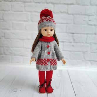 Зимний вязаный комплект одежды для куклы Паола Рейна 32 см