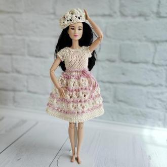 Вязаное платье на Барби, подарок девочке