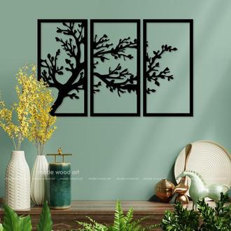 """Картина триптих из дерева """"Дерево ветер"""""""