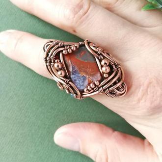 Медное кольцо с яшмой. Оригинальный подарок жене на медную свадьбу. Медное украшение